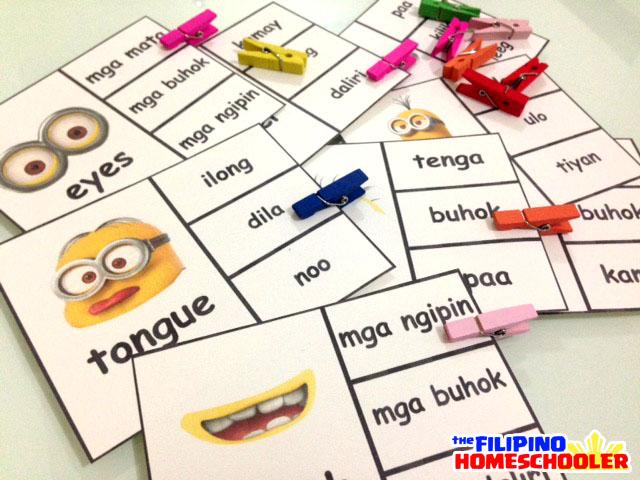Filipino Clip Cards - Body Parts with Minions