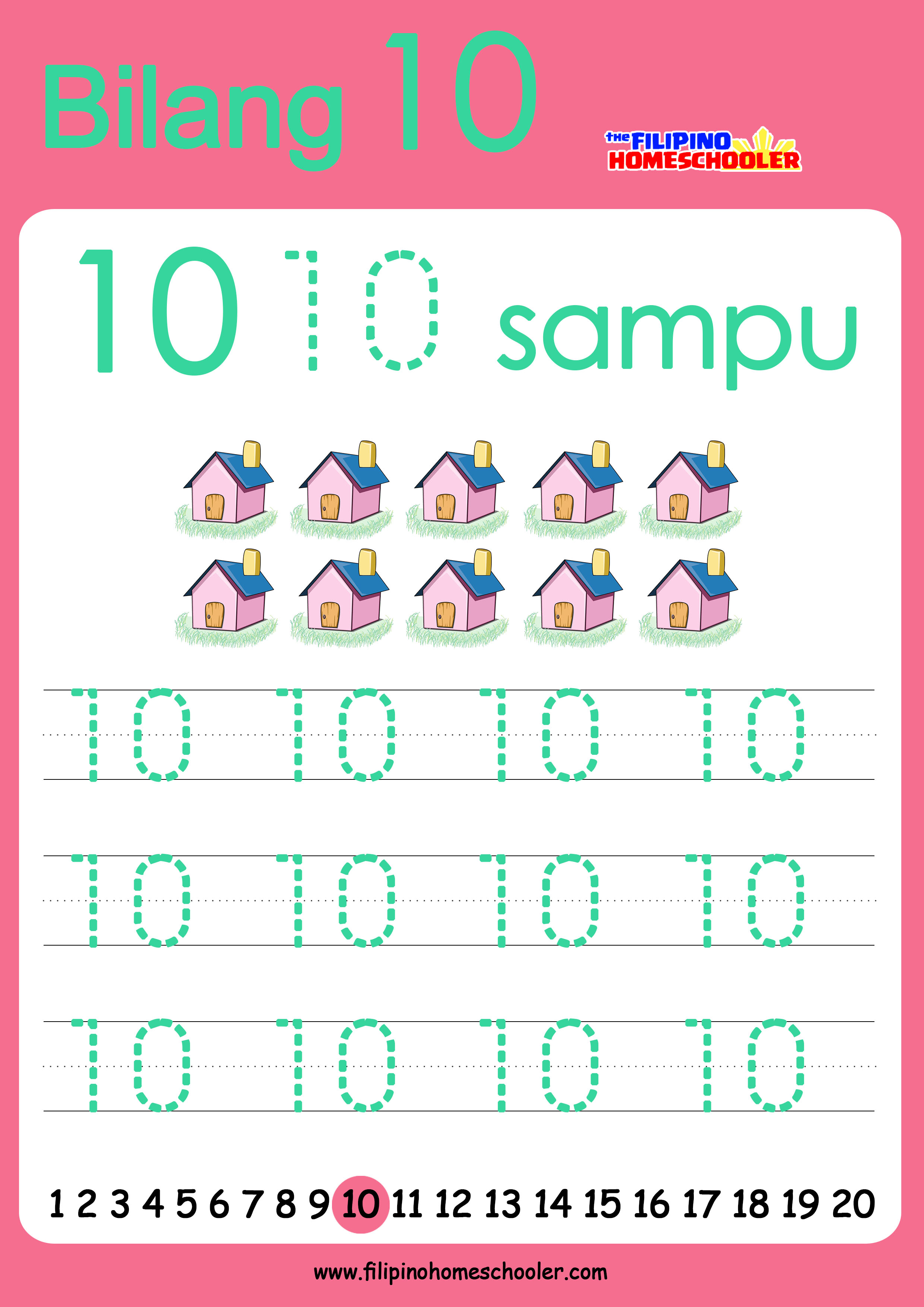 number writing worksheets 1 10