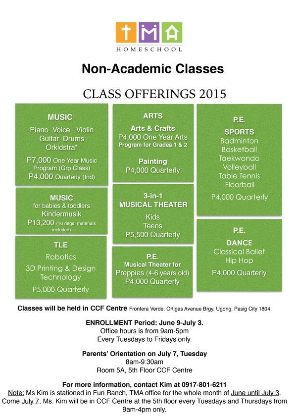 Tma Homeschool Non Academic Classes For June 2015 The Filipino