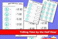 Telling Time By The Half Hour Worksheet