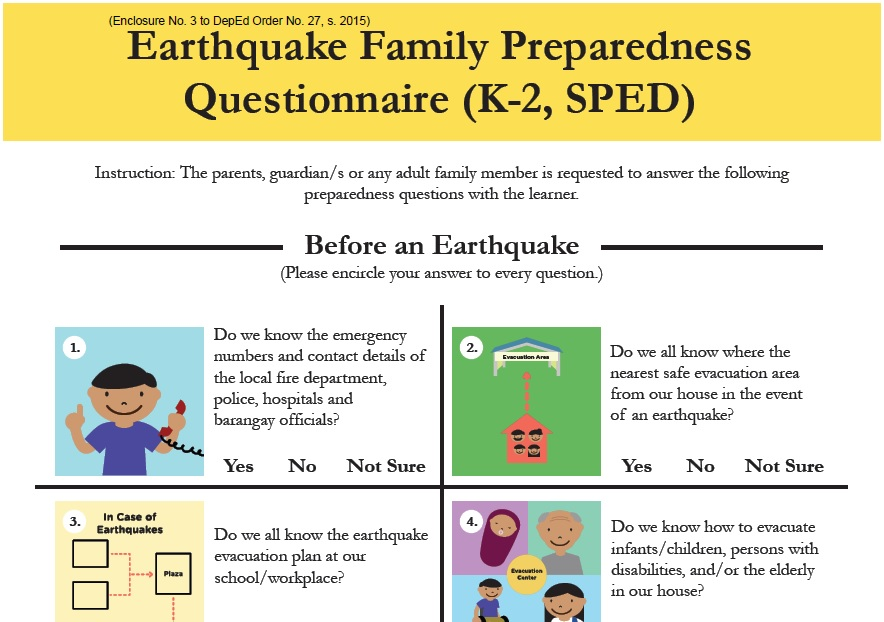 Deped Earthquake Readiness Questionnaire The Filipino