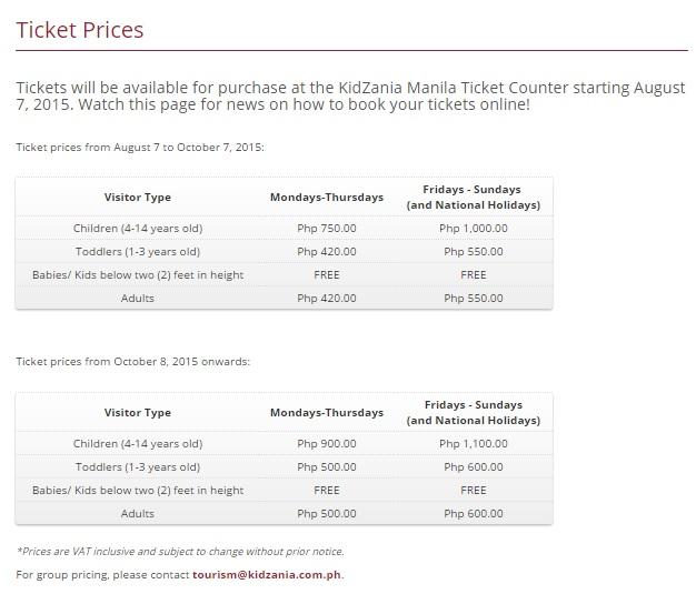 Kidzania Manila Ticket Prices
