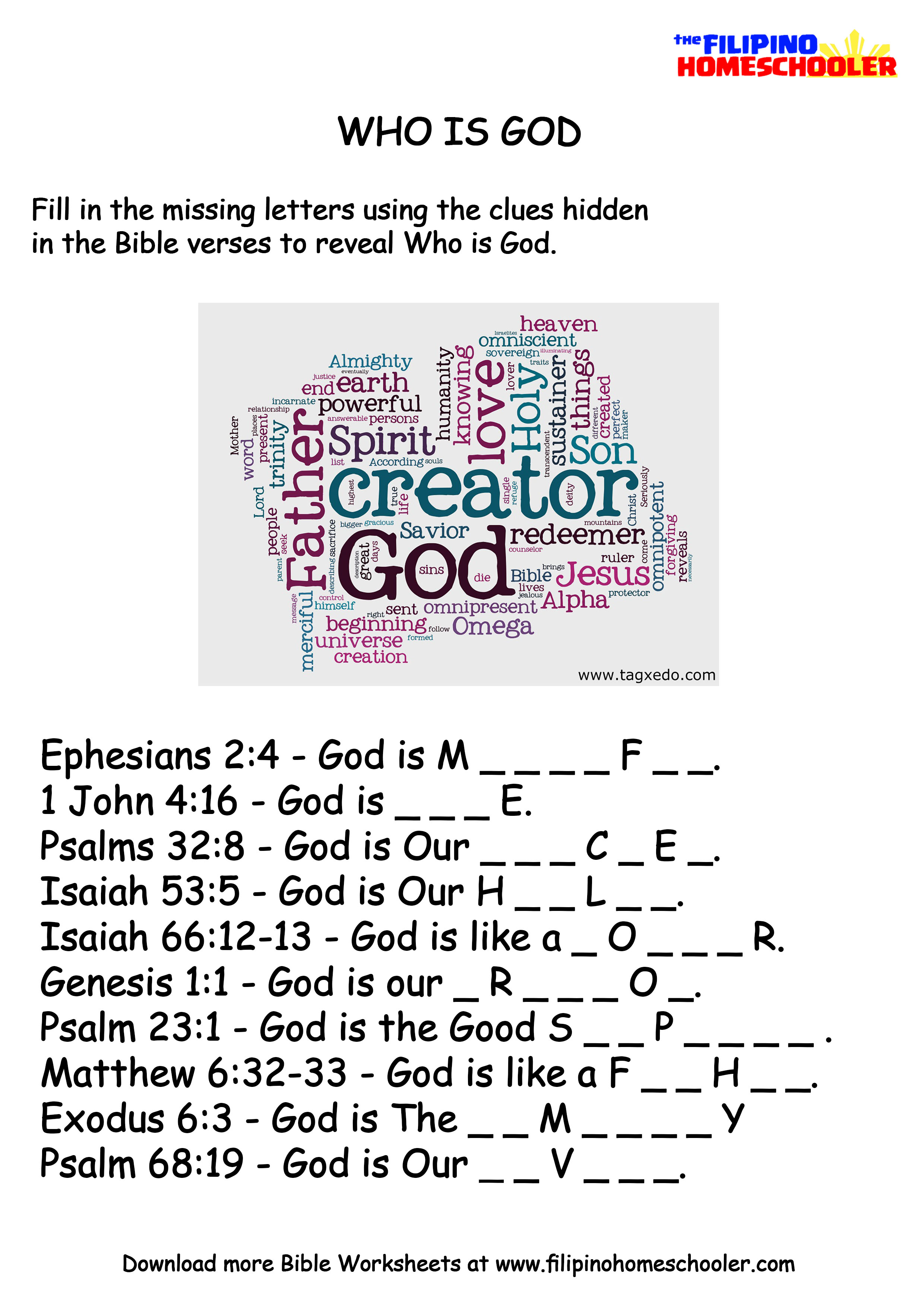 Who is God Learning Activity The Filipino Homeschooler – Bible Worksheets