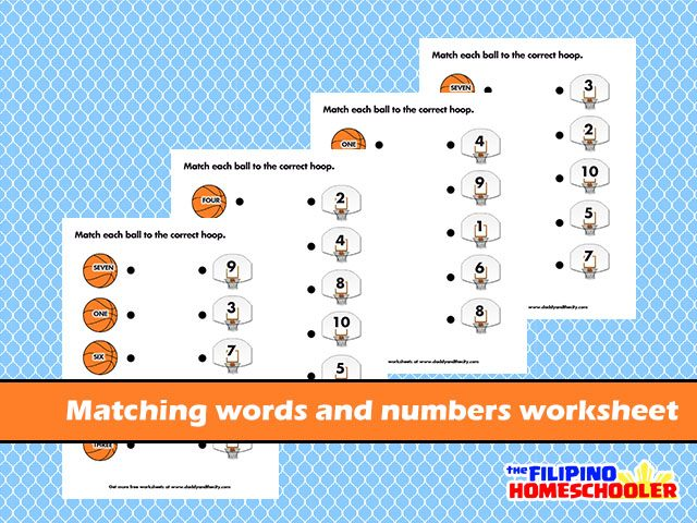 Matching Words And Numbers Worksheet