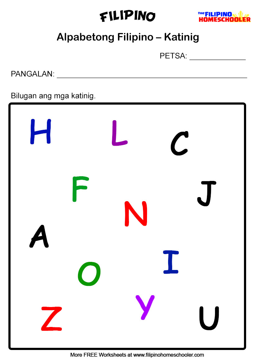 3 Free Katinig Worksheets Set 1 The Filipino Homeschooler