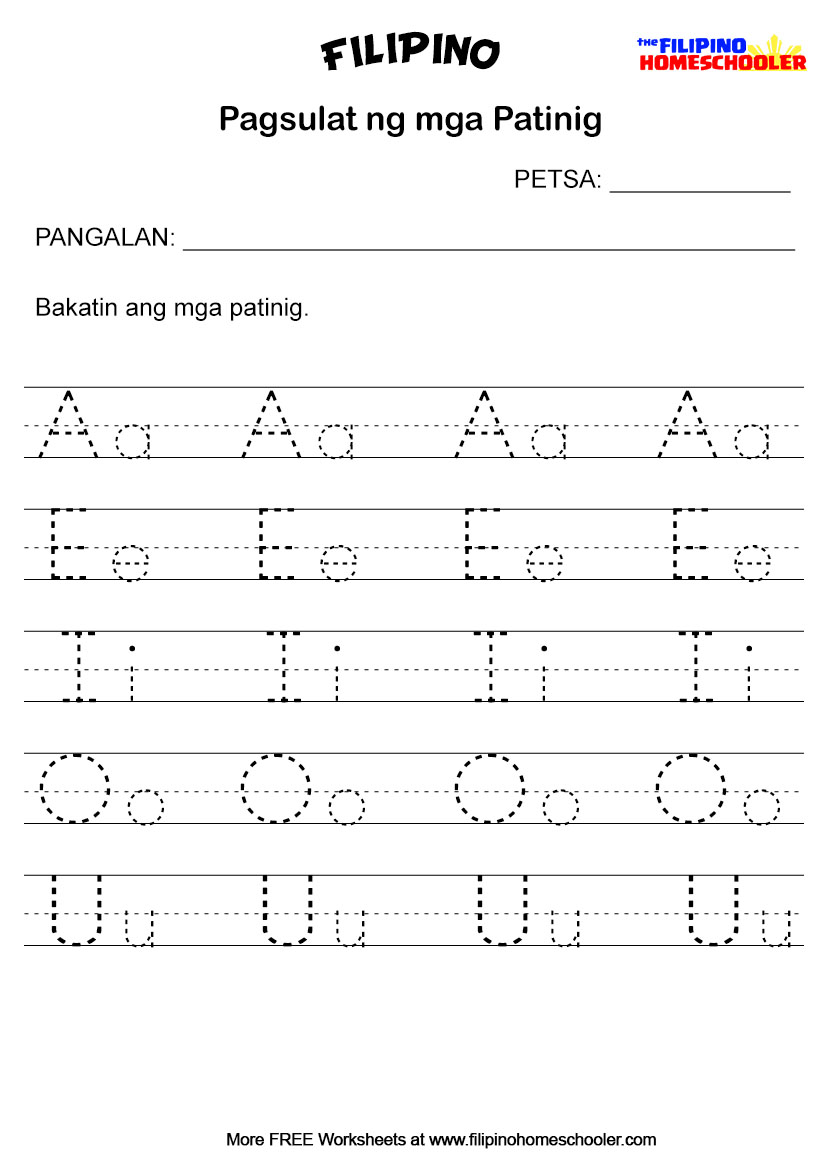 Pagsulat ng mga Patinig Worksheets – The Filipino Homeschooler