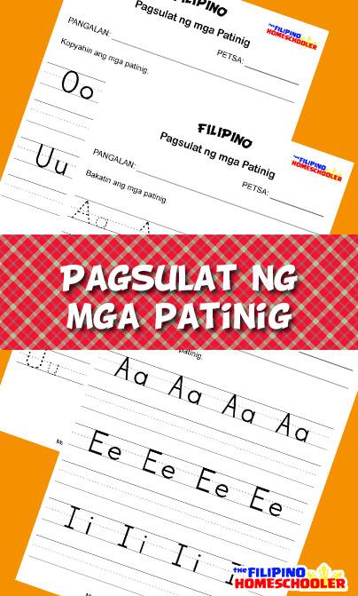 Alpabetong Filipino Worksheet For Grade 1 : Pagsulat ng mga patinig worksheets « the filipino homeschooler