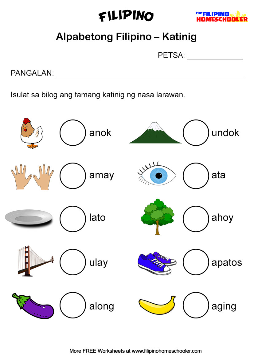 Free Katinig Worksheets (Set 2) – The Filipino Homeschooler