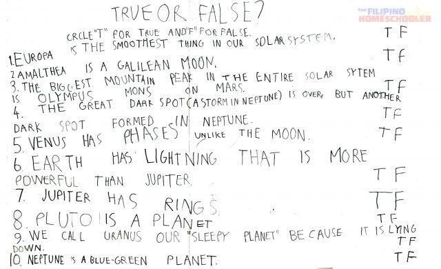Grade 1 Astronomy Worksheet