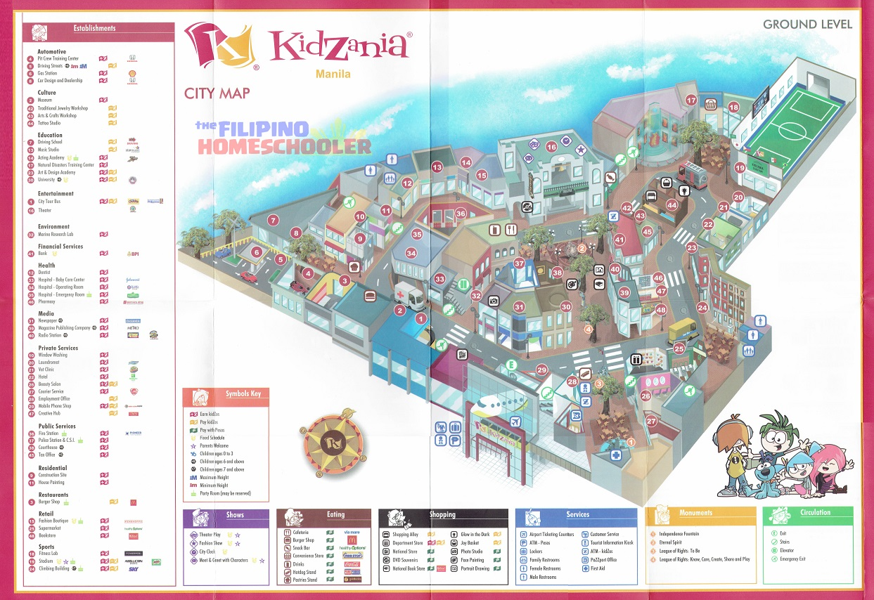 KidZania Map and Activities ndash The Filipino Homeschooler