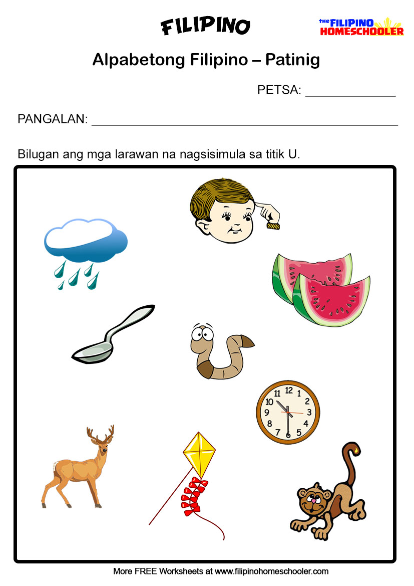 Workbooks u worksheets for kindergarten : 5 Free Patinig Worksheets (Set 1) – The Filipino Homeschooler