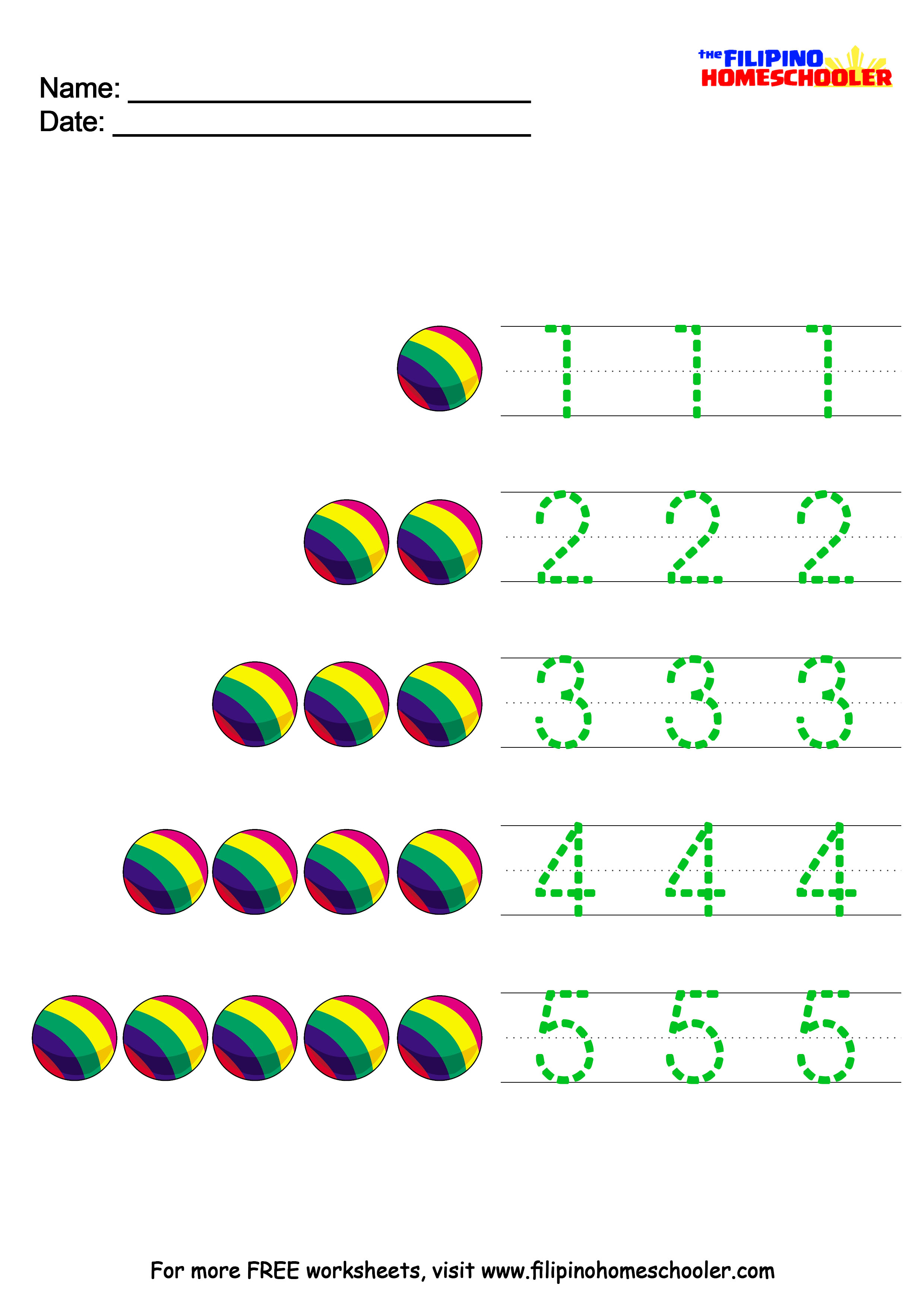 Number Recognition Worksheets 1-10 — The Filipino Homeschooler
